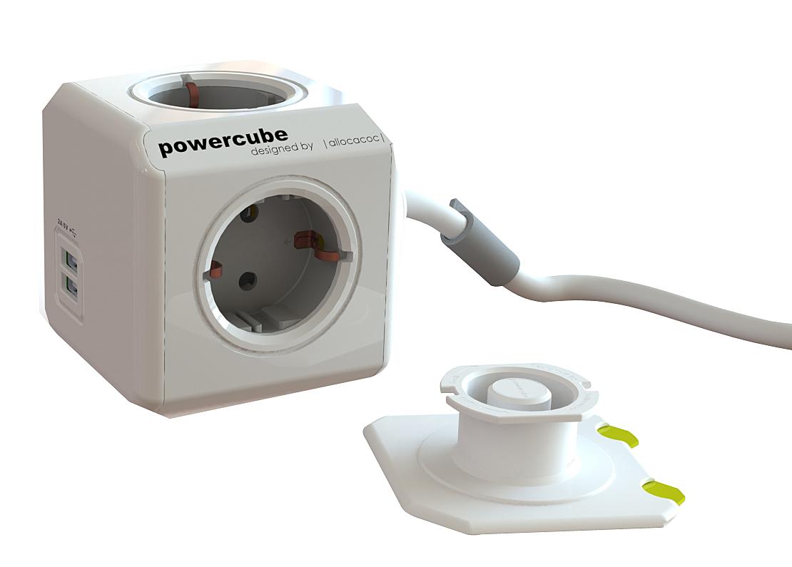Mehrfachsteckdose PowerCube mit 2 USB Ports und 3m Anschlusskabel mit Schuko-Stecker